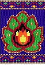 Persian Flower Pattern.  Use the border for a matching bracelet! Graph provided in color code mode with numbers and quantities fo delicas provided. 7 colors  Project Type: Bead Stitch: Peyote Beads Used: Delica