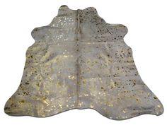 Gold Metallic Cowhide Rug Medium - Gold Metallic cow hide rug Size:5' X 5'…