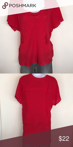 Plenty by Tracey Reese Red Silk Top Red silk Plenty by Tracey Reese top.  Tie front.  Excellent condition, pet free & smoke free home Plenty by Tracy Reese Tops