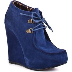 Betsey Johnson Ryaan - Blue Suede ($117) ❤ liked on Polyvore