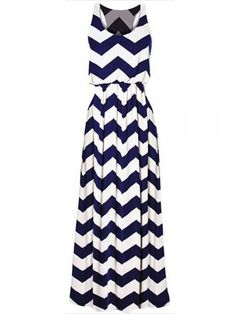 Blue Chevron Pattern Sleeveless High Waist Maxi Dress