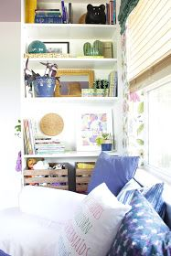 We transformed this space with built ins using Ikea bookshelves. This daybed space is so versitile and provides so much storage. Ikea Billy Bookcase, Ladder Bookcase, Bookshelves, Built In Daybed, Built Ins, Space, Storage, House, Home Decor
