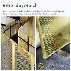 Want to incorporate industrial elements into your design? Our laminated metal mesh products add a contemporary appeal that is ideal for both interior and exterior applications! #MondayMatch #ArchitecturalDecorativeGlass #MetalMesh #IndustrialDesign