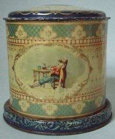 HTF ARCADIA TOBACCO ADVERTISING ROUND CANNISTER GREAT EMBOSSED GRAPHIC & COLOR