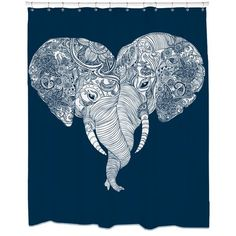 Sharp Punch Trunk Love Shower Curtain (PTLCurtain), White