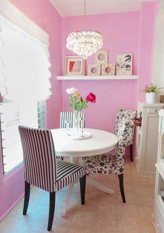 pink walls kitchen small breakfast area decor pink black white