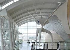 Bjorn Schulke's 'Space Observer' in San Jose,CA Airport Architecture, Modern Architecture, San Jose Airport, Solar, Sound Installation, Interactive Art, Space Crafts, Public Art, Ceiling Lights