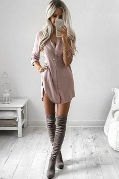 dress blush pink shirt dress twill button up long sleeves slit dress blouse