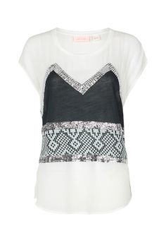 Sass and Bide MEMORY LANE printed & embellished cap sleeve cotton tee with contrast silk panels.