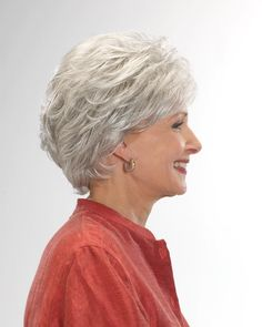 Gloria is a sophisticated and classic mid-length style with soft layers creating gorgeous volume. Try it for yourself and get it now from BeautyTrends. Long Hair On Top, Short Grey Hair, Very Short Hair, Short Hair Cuts, Black Hair, Hairstyles For Seniors, Mens Hairstyles With Beard, Hairstyle Men, Funky Hairstyles