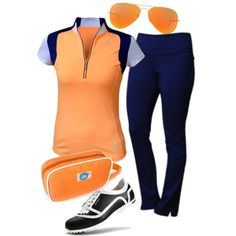 Tangerine and Blue Depth by golf4her on Polyvore featuring Jofit, Duca Del Cosma, Ray-Ban, women's clothing, women's fashion, women, female, woman, misses and juniors