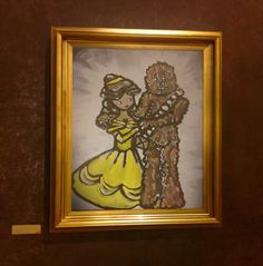 Disney fan art, Belle and Chewbacca, STAR WARS ART. couple painting print, Impressionist Art print, Art Print, love art. cute couple by thetrinketcollection on Etsy https://www.etsy.com/listing/266083197/disney-fan-art-belle-and-chewbacca-star
