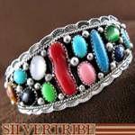 Navajo Indian Multicolor Stone Cuff Bracelet