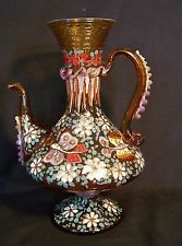 """Antique MOSER Bohemian Enamel Gold Glass Vase Pitcher Cire Royo Butterfly 10.5"""""""
