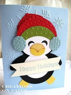 Stampin' Up! Punch Art Kay Sha Christmas Penguin by lorie Paper Punch Art, Punch Art Cards, Xmas Cards, Holiday Cards, Christmas Cards For Kids, Winter Cards, Creative Cards, Cute Cards, Handmade Christmas