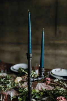 wedding ideas for centerpieces—dark teal colored candles stick in a black industrial pipe candelabra Wedding Table Centerpieces, Flower Centerpieces, Reception Decorations, Wedding Favors, Diy Wedding, Wedding Reception, Wedding Ideas, Wedding Hair, Centerpiece Ideas