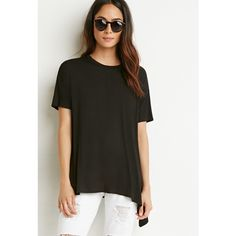Forever 21 Drop-Sleeve Trapeze Tee ($15) ❤ liked on Polyvore featuring tops, t-shirts, forever 21 t shirts, sleeve tee, t shirts, trapeze top and short sleeve tops