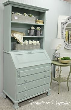 Image result for decorating using a Secretary Desks with hutches in the kitchen like a buffet