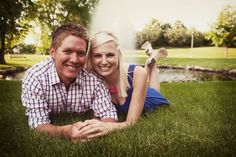 We love how casual engagement photo sessions are - such genuine smiles! Photo by Kim. #MinneapolisWeddingPhotographers