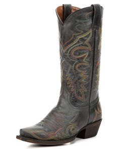 Take the concert rhythm with you everywhere in the Austin Boot by American Rebel. Black leather is distressed to craft a stunning finish. All over the foot, upper and heel a playful rainbow stitch dances wildly. Inside, the cushioned insole provides walking comfort from the first step. Cut loose in the Austin Boot.<div><br><div>Live by your own rules. American Rebel Boots are made for women who practice the art of living on the edge. Never ordinary, always stunning, a Rebel keeps faith in…