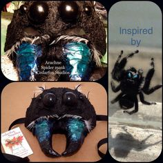 Fantasy Mask Masquerade Spider black green blue by CedarfoxStudios