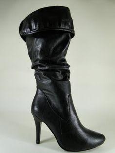 Amazon.com: New Black Mid-Calf High Heel Dressy Boots #F08: Shoes