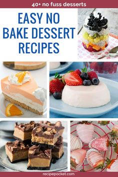 Easy no bake dessert recipes. Quick and simple ideas for parties, for a crowd. Cheap ideas with a fe Finger Desserts, Desserts For A Crowd, Great Desserts, Summer Desserts, Delicious Desserts, Budget Desserts, Yummy Recipes, Dessert In A Jar, Dessert Buffet