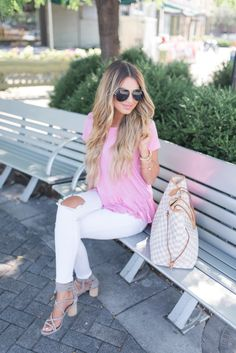 Pink Ruffle Hem Top ($49) | Hollie Elizabeth | A Lifestyle, Fashion & Beauty Blog by Hollie Woodward