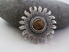 Silver amber sun necklace sun flower necklace by WindCityTreasures, $125.00