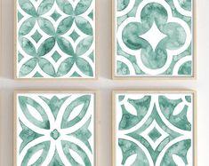 Tile Patterns, Pattern Art, Pattern Design, Green Watercolor, Watercolor Ideas, Watercolor Pattern, Watercolour, Watercolor Paintings, Unicorn Art