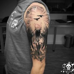 61 Best Stylish, Beautiful and Unique Tattoos for Men unique tattoos for men; unique tattoos for couples; unique tattoos for my son; unique tattoos for lost loved ones; unique tattoos for parents; unique tattoos for best friends Angel Sleeve Tattoo, Best Sleeve Tattoos, Angel Tattoo Men, Half Sleeve Tattoos For Men, Angels Tattoo, Angel Warrior Tattoo, Cloud Tattoo Sleeve, Warrior Tattoos, Fake Tattoos