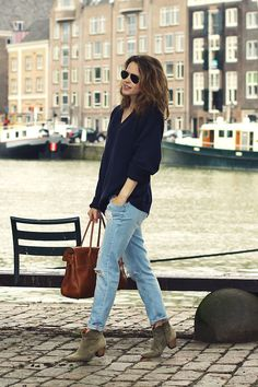 boyfriend jeans + slouch jumper + marant boots + mulberry bayswater