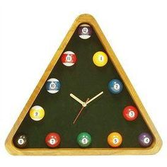 Game Room Pool Quartz Wall Clock, easy DIY w old balls an different racks like 9 ball an 8 ball rack an paint, also make a frame w the old teaching ball mini cue stick, chalk use imagination