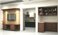 living room interior, LCD unit, TV unit, kitchen entrance, L shape crockery unit