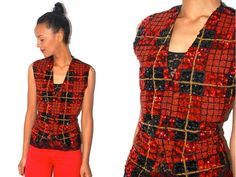 Vtg Sequined Plaid Red Black Gold Button Down Vest by LuluTresors, $34.99