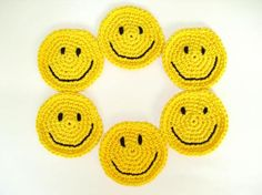 Lote de 6 posavasos smiley de ganchillo
