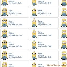 FREE Printable Despicable Me Minions Address Labels. Obviously I need these... (There are tons of printables at this site, including more Minions!)
