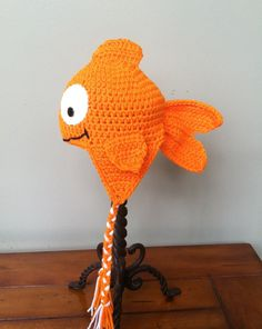 Little Goldfish Fish Hat (You Choose Size Newborn - Adult) Any Color (with earflaps and briads) on Etsy, $22.00