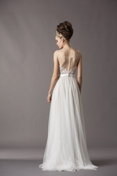 Watters tulle shear low back bridal gown wedding dress available at Mariee Bridal Scottsdale Arizona  4809464343