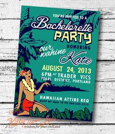 PRINTABLE Bachelorette Party INVITATION Wedding Coastal Hawaiian Retro invite 5 x 7 hi-res files Hawaiian Beachy Cottage diy. $18.00, via Etsy.