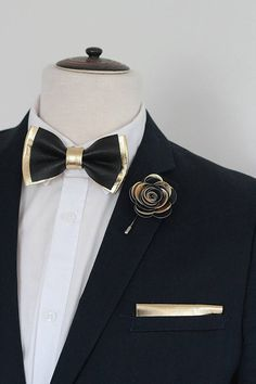 Black and Gold mens leather bow tie for men gold wedding bow tie genuine leahther bowtie gold bow tie rustic bow tie toddler boys Black Suit Wedding, Bow Tie Wedding, Wedding Men, Wedding Suits, Gold Wedding, Black And Gold Prom Suit, Wedding Tuxedos, Groomsmen Tuxedos, Wedding Ideas