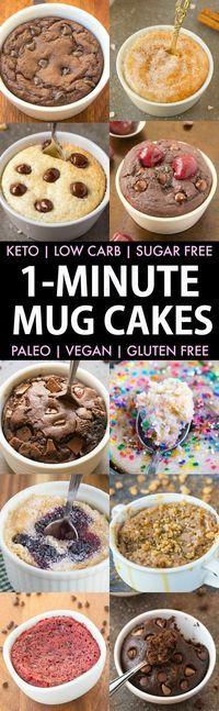 1-Minute Keto Mug Cakes (Paleo Vegan Low Carb Sugar Free)- Easy mug cake mug