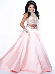 New Pageant #Prom Dresses For Beauty Queen Statement Formal Dance Wear Sale Cheap Two Piece Beaded Pattern Pink Satin Evening Gowns Hot #2016