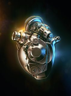 cyborg heart render Acura Heart by Aleksandr Kuskov. (via ArtStation - Acura Heart, Aleksandr Kuskov) Motor Tattoo, Cyberpunk, Mécanicien Automobile, Biomech Tattoo, Cool Tattoos, Tatoos, Engine Tattoo, Design Spartan, Geniale Tattoos