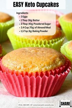 Those easy to bake Low Carb or Keto Cupcakes are the perfect base YOU need to have. Top Recipes, Almond Recipes, Low Carb Recipes, Snack Recipes, Diet Recipes, Cake Recipes, Atkins Recipes, Ketogenic Recipes, Keto Cupcakes
