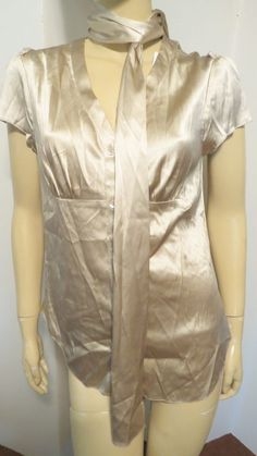 NWT $266 MAGASCHONI COLLECTION Gold Satin Stretchy Scarf Tie Neck Blouse Top 4 #Magaschoni #Blouse #ScarfTop