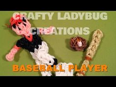 Rainbow Loom Bands BASEBALL BAT CHARM How to Make Tutorial by Crafty Ladybug - YouTube