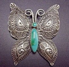 Vintage NAVAJO Hand Stamped Sterling Silver & Turquoise BUTTERFLY PIN/BROOCH  | eBay
