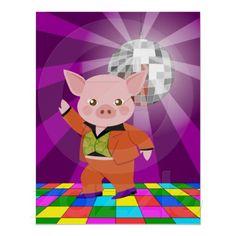 Disco pig on the dance floor print