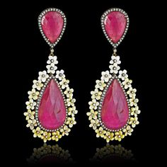 Color Me Happy Ruby, Pearl, Diamond Earrings - JYOTI  #color #happy #ruby #pearl #diamond #earring #designer #JYOTI #couture #jewelry